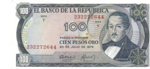 100 песо Колумбия