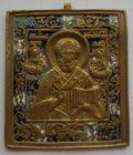Икона Николай Чудотворец эмаль 19 век