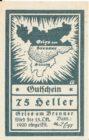 Нотгельд 75 геллеров 1920 года
