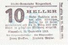 Нотгельд 10 геллеров 1919 года
