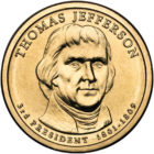 1 дoллaр 2007 США — Thomas Jefferson (3-й прeзидeнт)
