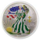 США. 1 доллар 2007 г. «Шагающая Свобода» (цветная эмаль)