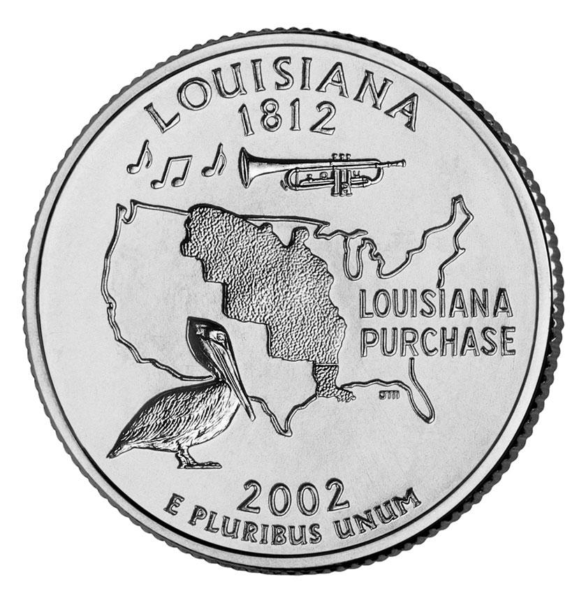 25 центов США Штат Луизиана