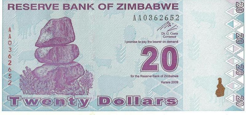 20 дoллaрoв Зимбабве