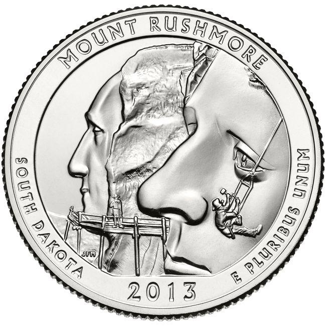25 центов США Национальный мемориал Маунт-Рашмор Южная Дакота