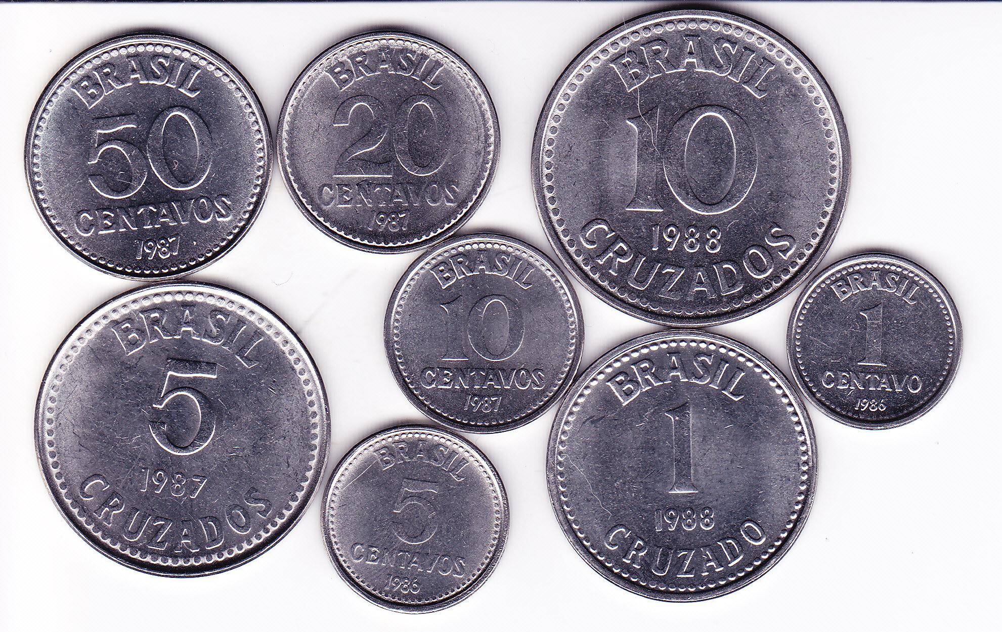 Набор монет 1,5,10,20,50 центаво 1985-1988 года