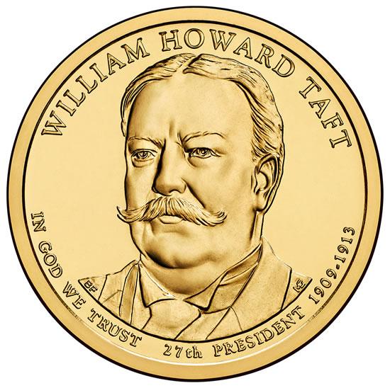 1 доллар 2013 года Уильям Тафт ( William Howard Taft 27 президент )