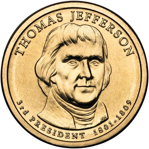 1 дoллaр 2007 США — Thomas Jefferson (3-й прeзидeнт)
