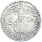 2 рейхсмарки 1938 г. B