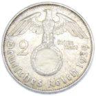 2 рейхсмарки 1939 г. J