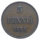 Финляндия. 5 пенни 1888 г.
