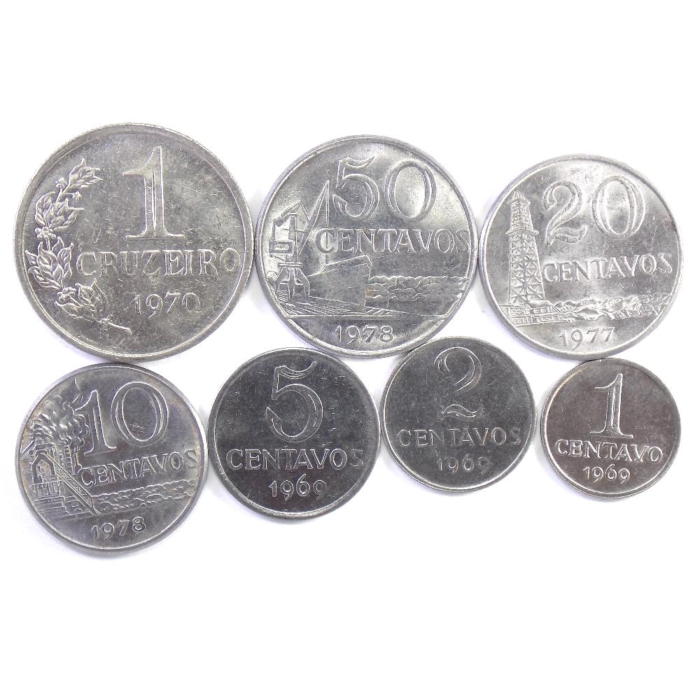 Бразилия. Набор монет 1969-1978 гг. (7 шт.)