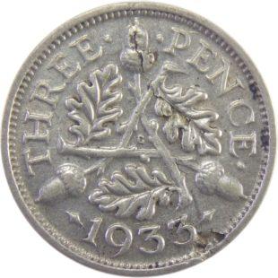 Великобритания. 3 пенса 1933 г.