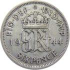 Великобритания. 6 пенсов 1944 г.