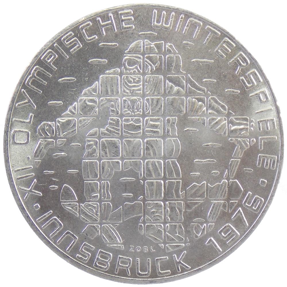 Австрия. 100 шиллингов 1975 г. «Зимние Олимпийские игры. Инсбрук 1976. Лыжник»