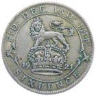 Великобритания. 6 пенсов 1921 г.
