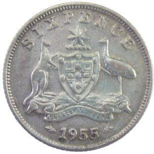 Автралия. 6 пенсов 1955 г.
